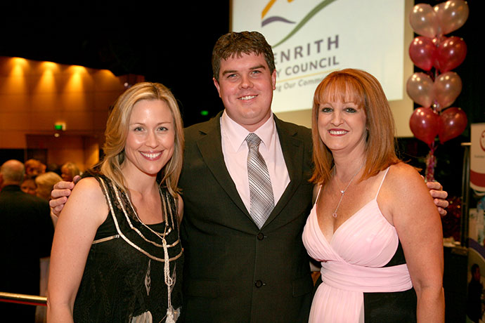 Troy Dodds with Tara Dennis and Lea Hicks at the OZWAC Ball, which Troy has hosted in the past